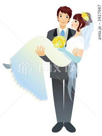 ウェディング 見つめ合う お姫様抱っこ 花嫁のイラスト素材 , PIXTA