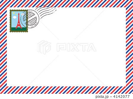 エアメール 封筒 枠 国際便のイラスト素材 Pixta