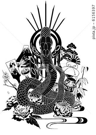 巳年 巳 モノクロ 白黒のイラスト素材 , PIXTA
