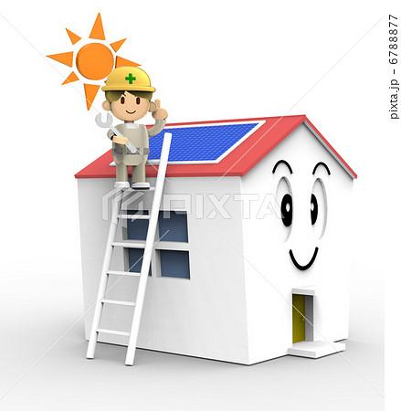 施工 太陽光発電 屋根 工事のイラスト素材 - PIXTA