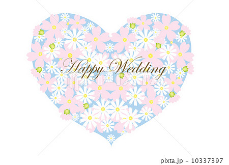 結婚祝い メッセージカード ウェディング はがきサイズのイラスト素材