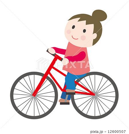 かわいい イラスト シンプル 自転車 女の子の写真素材 Pixta