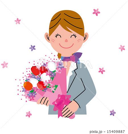 女性 ビジネスウーマン 花束 送別会のイラスト素材 Pixta