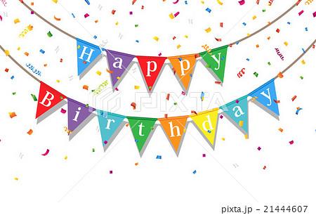 誕生日 デコレーション パーティーフラッグ ベクターのイラスト素材 Pixta