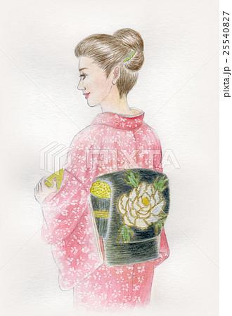 名古屋帯 着物 帯 和服のイラスト素材 Pixta