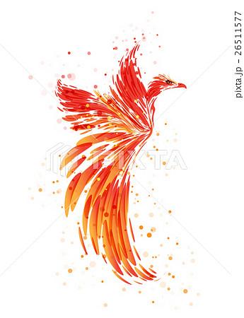 鳳凰 鳥 白背景 オレンジ色のイラスト素材 Pixta