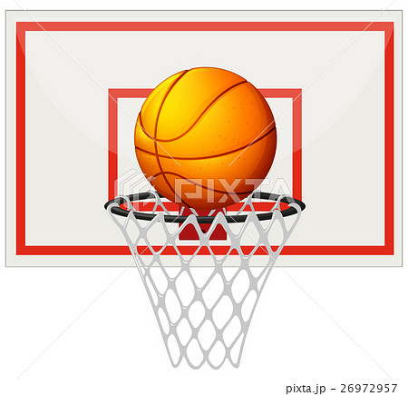 basketball with basketball board and netのイラスト素材 26972957