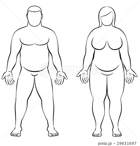 Fat Couple Overweight Man Woman Body Frontal