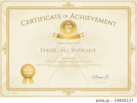 pixta certificate of achievement template gold border yelopaper Image collections
