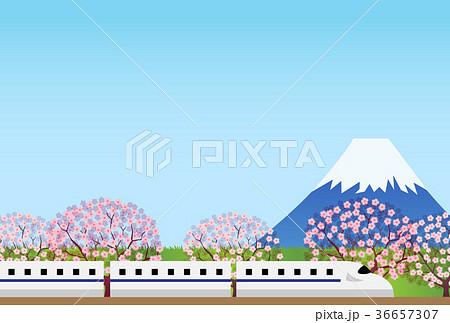 富士山 電車 イラスト