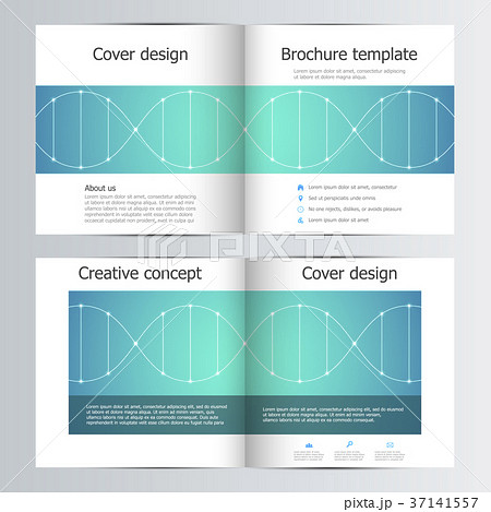 bi fold square brochure template with dna moleculeのイラスト素材