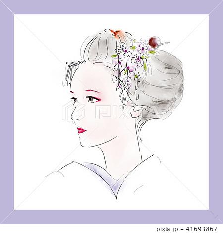着物 京都 日本髪 簪のイラスト素材 Pixta