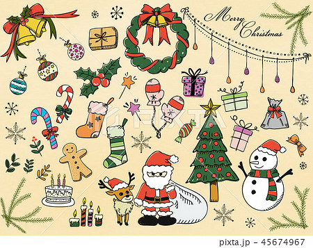 イラスト 手書き 手描き クリスマスの写真素材 Pixta