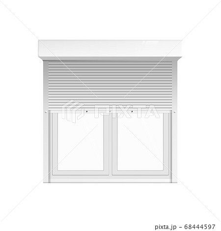 Window with rolling blinds or curtains realistic vector illustration isolated.